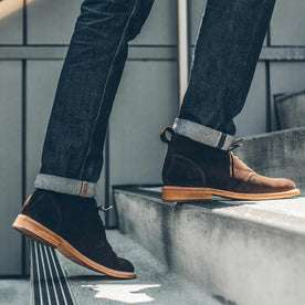 Our fit model texting the Chukka shoe in the city