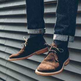 the fit model showing the chukka shoe