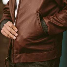 The pocket of the Golden Bear jacket worn by our fit model