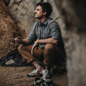 Our fit model recovering from a tuff climb in Yosemite Shirt in Heather Charcoal