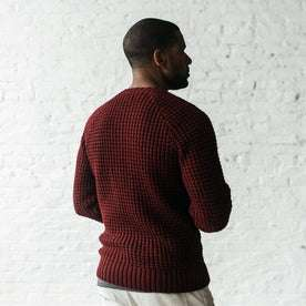 Our fit model wearing The Fisherman Sweater in Maroon Waffle