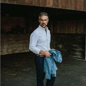 Our fit model wearing The Jack in Navy University Stripe Oxford
