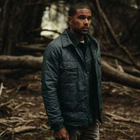 our fit model wearing The Garrison Shirt Jacket in Navy Dry Wax