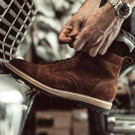 Our fit model wearing The Moto Boot in weatherproof Snuff Suede from Taylor Stitch.
