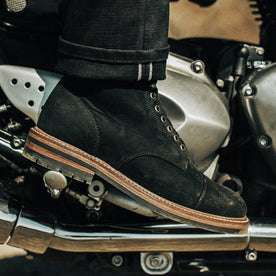 Our fit model wearing The Moto Boot in Black