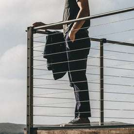 Our fit model wearing The Slim Chino in Organic Navy.