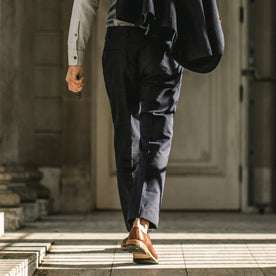 Our fit model wearing The Telegraph Trouser in Navy Slub.