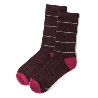 The Merino Sock in Maroon Stripe