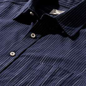 The Short Sleeve California in Navy Slub Stripe: Alternate Image 7