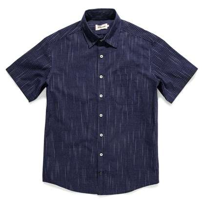 The Short Sleeve California in Navy Slub Stripe