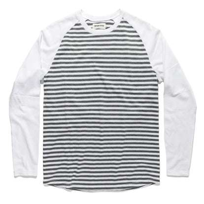The Triblend Long Sleeve in Charcoal Stripe