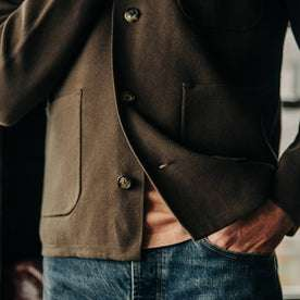 fit model wearing The Prout Jacket in Turkish Coffee, bottom detail