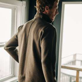 fit model wearing The Prout Jacket in Turkish Coffee, back