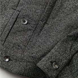 material shot of sleeve and buttons