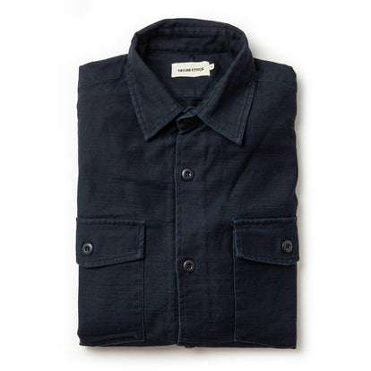 The Point Shirt in Navy Reverse Sateen