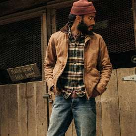 fit model wearing The Workhorse Jacket in Tobacco Boss Duck, looking right