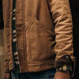 fit model wearing The Workhorse Jacket in Tobacco Boss Duck, sleeve detail