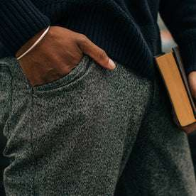 fit model wearing The Camp Pant in Navy Jaspe, hand in pocket up close