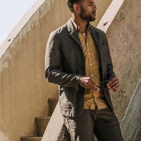 our fit model wearing The Gibson Jacket in Gravel—looking right