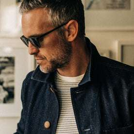 our fit model rocking The Ojai Jacket in Indigo Herringbone—cropped shot looking left