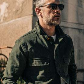 out fit model wearing The Project Jacket in Olive Boss Duck