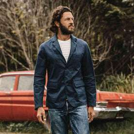 our fit model wearing The Gibson Jacket in Light Navy