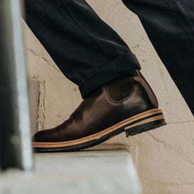 Our fit model in the Ranch Boot in Espresso Eagle by Taylor Stitch.