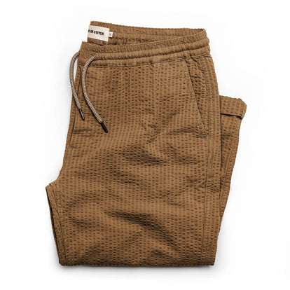 The Après Pant in British Khaki Seersucker