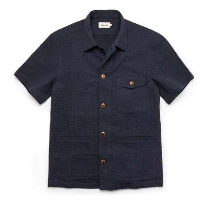 The Caravan Shirt in Navy Seersucker