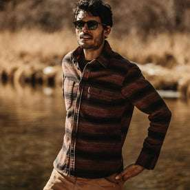 our fit model wearing The Moto Utility Shirt in Sunset Stripe