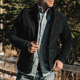 our fit model wearing The Port Jacket in Navy Sherpa