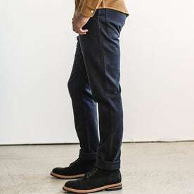 our fit model wearing The Camp Pant in Indigo Boss Duck