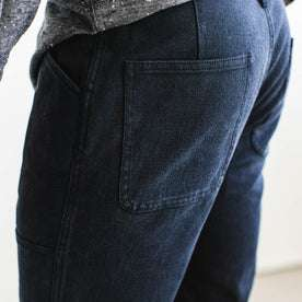 our fit model wearing The Chore Pant in Indigo Boss Duck
