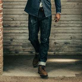 our fit model wearing The Democratic Jean in Green Cast Selvage