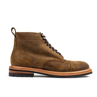 The Moto Boot in Golden Brown Waxed Suede