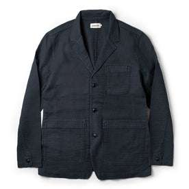The Emerson Jacket in Navy Double Cloth: Featured Image
