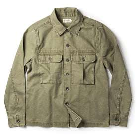 flatlay of The HBT Jacket in Washed Olive