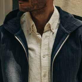 fit model wearing The Riptide Jacket in Indigo Slub, chest detail