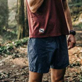 fit model wearing The Traverse Short in Navy, cropped shot