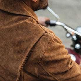 fit model wearing The Wyatt Jacket in Cognac Suede, shoulder detail
