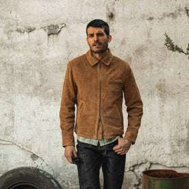 fit model wearing The Wyatt Jacket in Cognac Suede, hand in pocket