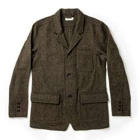 flatlay of The Gibson Jacket in Olive Herringbone Wool