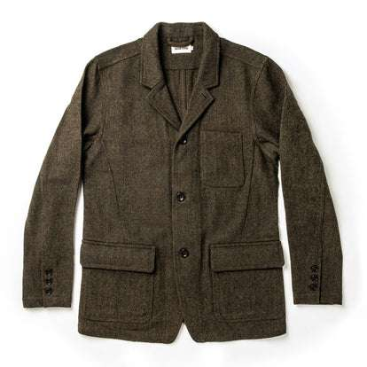 The Gibson Jacket in Olive Herringbone Wool