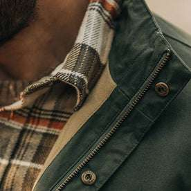 our fit model wearing The Harris Jacket in Forest Dry Wax—cropped shot of collar