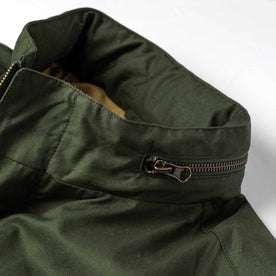 material shot of zipper on hood