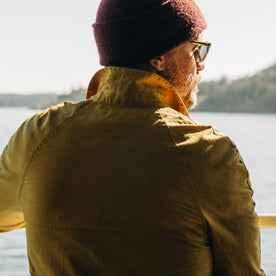 fit model wearing The Lombardi Jacket in Mustard Dry Wax, back