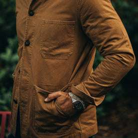 our fit model wearing The Ojai Jacket in Tobacco—hands in pockets