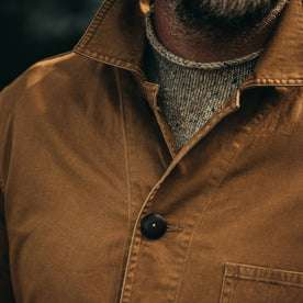 our fit model wearing The Ojai Jacket in Tobacco—cropped shot of chest