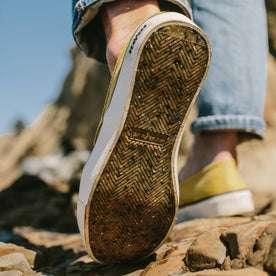 fit model wearing The Sano Slip-On in Gold Boss Duck, sole shot