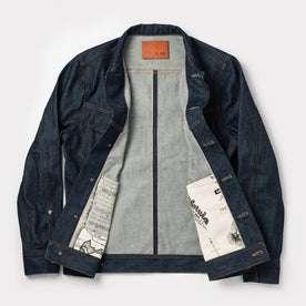 flatlay shot of jacket opened up